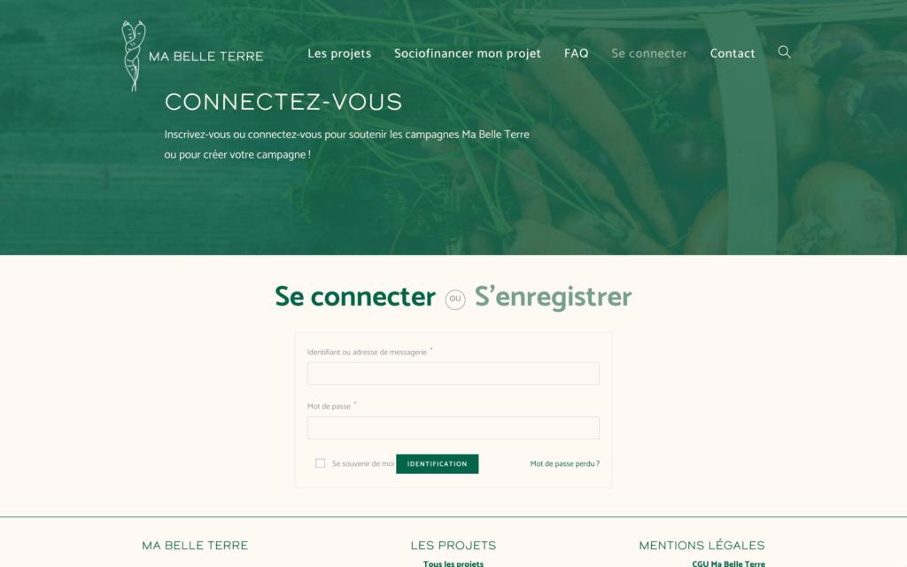 Se connecter - Ma Belle Terre - Un site d'Atlas-Studio de sociofnancement