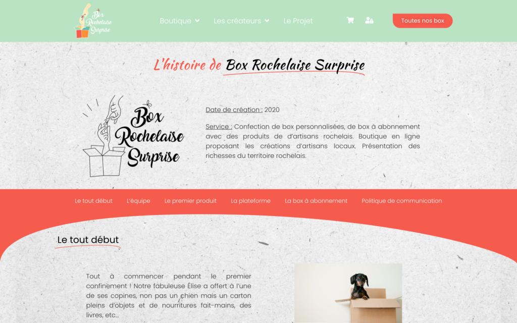 Box Rochelaise Surprise - Page le projet - site e-commerce