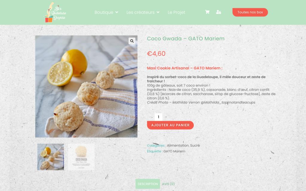 Box Rochelaise Surprise - page produits - site e-commerce