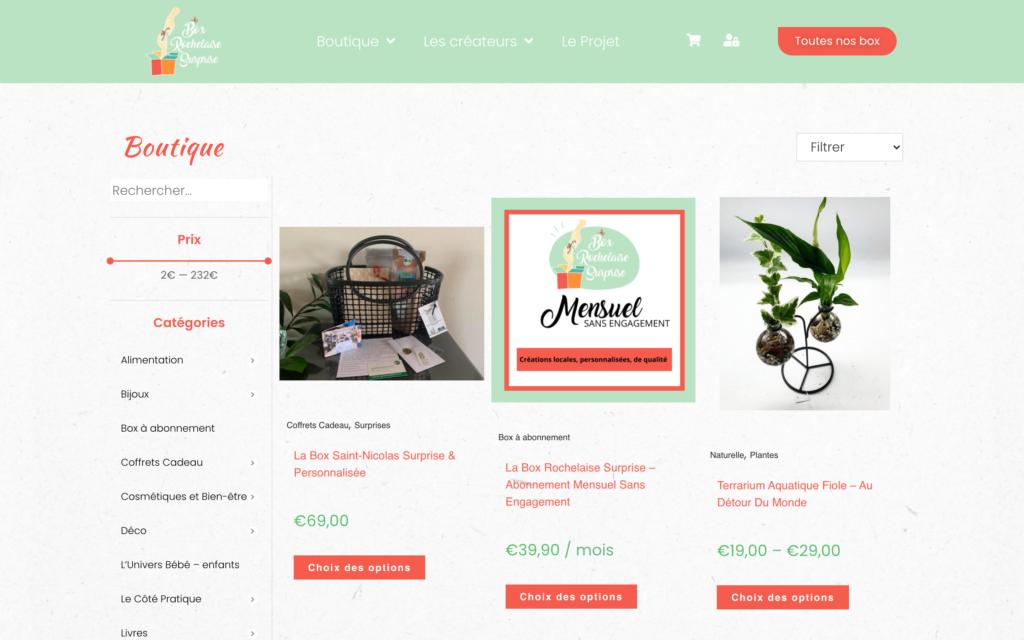 Box Rochelaise Surprise - site e-commerce - Page boutique