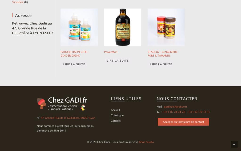 Chezgadii.fr - pied de page - Site dynamique